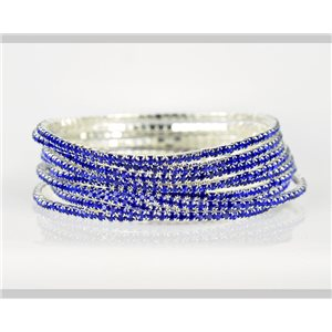 Lot of 10 - Stretch bracelet set with sparkling rhinestones on silver mesh 78926