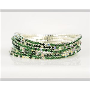 Lot of 10 - Stretch bracelet set with sparkling rhinestones on silver mesh 78939