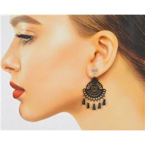 1p Boucles Oreilles Filigrane à clou Zircon et Pampilles New Collection 78774