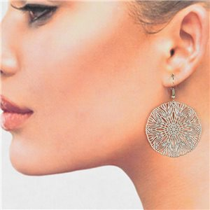 1p Boucles Oreilles Filigrane Argenté à crochet New Collection 78777