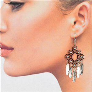 1p Boucles Oreilles Filigrane Argenté à crochet New Collection 78780