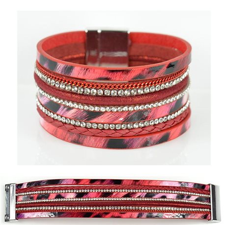 Strass bracelet Multirow cuff effect magnetic clasp New Collection 79011