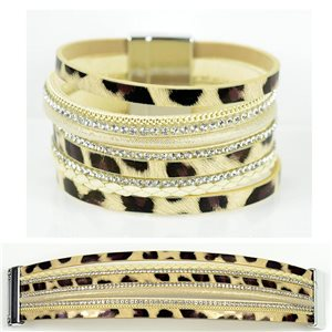 Strass bracelet Multirow cuff effect magnetic clasp New Collection 79012