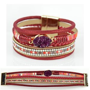 Strass bracelet Multirow cuff effect magnetic clasp New Collection 79015