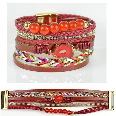 Strass bracelet Multirow cuff effect magnetic clasp New Collection 79019