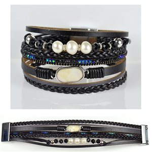 Strass bracelet Multirang cuff effect magnetic clasp New Collection 79029