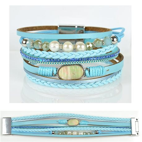 Strass bracelet Multirow cuff effect magnetic clasp New Collection 79032