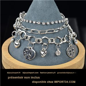Pretty multirang charms bracelet set with high-gloss rhinestones in silver metal 79065