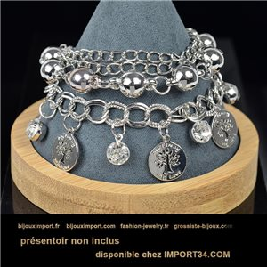 Pretty multirang charms bracelet set with high-shine rhinestones in silver metal 79071