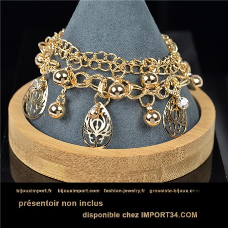 Pretty multirang charms bracelet set with high-shine rhinestones in gold metal 79082
