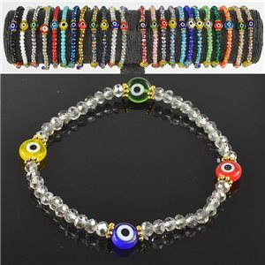 Lucky charm bracelet faceted crystal beads on elastic thread Handmade 79048