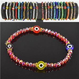 Lucky charm bracelet faceted crystal beads on elastic thread Handmade 79049