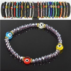 Lucky charm bracelet faceted crystal beads on elastic thread Handmade 79051