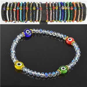 Lucky charm bracelet faceted crystal beads on elastic thread Handmade 79052