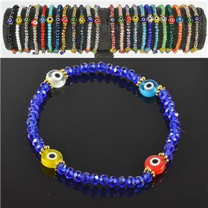 Lucky charm bracelet faceted crystal beads on elastic thread Handmade 79054
