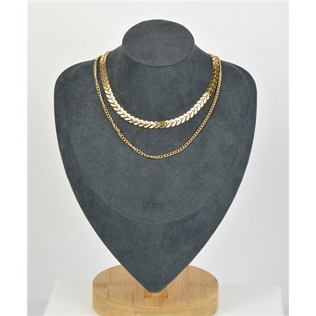Double Row Choker Necklace in Gold metal New Collection 79131