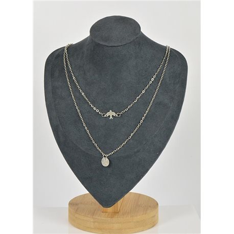 Necklace Long Double Rows Metal Silver New Collection 79136