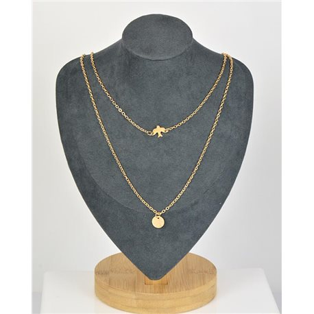 Double Rows Long Necklace in Gold metal New Collection 79137
