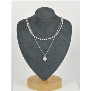 Double Row Silver Plated Choker Necklace New Collection 79133