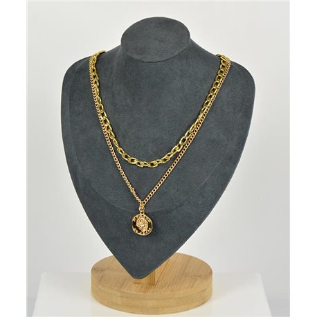 Double Rows Long Necklace in Gold metal New Collection 79148