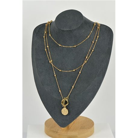 Necklace Long Necklace Triple Rows Gold metal New Collection 79138