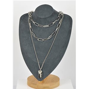Silver Plated Triple Row Long Necklace New Collection 79139
