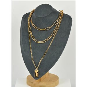 Gold Metal Triple Row Long Necklace New Collection 79140