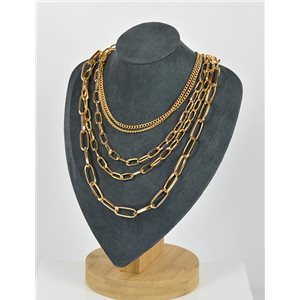 Five Rows Long Necklace Gold metal New Collection 79142