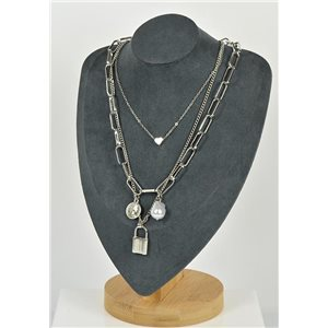 Silver Plated Triple Row Long Necklace New Collection 79143
