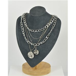 Five Rows Long Necklace in Silver metal New Collection 79145