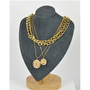 Five Rows Long Necklace in Gold metal New Collection 79146