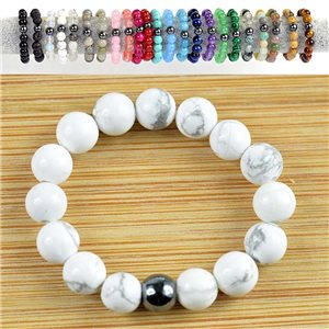 4mm Pearl Rings in White Howlite Stone on elastic thread New Collection 79159
