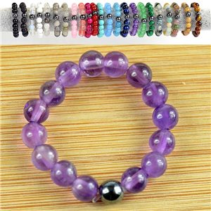 4mm Pearl Rings in Amethyst Stone on elastic thread New Collection 79171