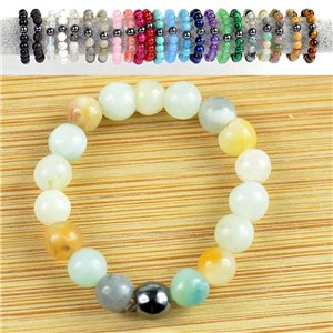 4mm Pearl Rings in Amazonite Stone on elastic thread New Collection 79175