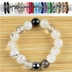 4mm Pearl Rings in BlackStone Quartz Stone on elastic thread New Collection 79160