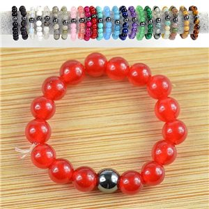 4mm Pearl Rings in Red Agate Stone on elastic thread New Collection 79166