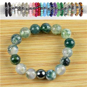 4mm Pearl Rings in Aquatic Agate Stone on elastic thread New Collection 79174