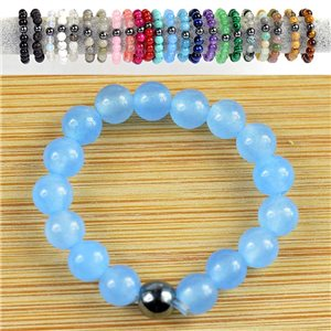 4mm Pearl Rings in Blue Aventurine Stone on elastic thread New Collection 79168