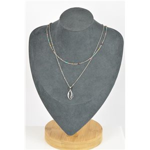 Stainless Steel Double Row Long Necklace L40-45cm New Collection 79210