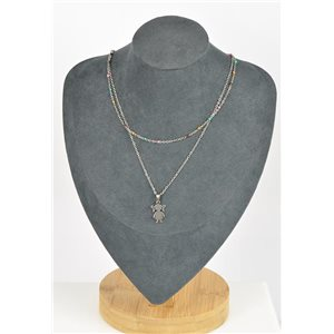 Stainless Steel Double Row Long Necklace L40-45cm New Collection 79211