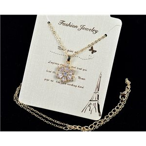 Fine chain necklace Gold 42-48cm - Gold pendant Strass diamond cut 79112