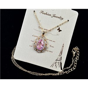 Gold chain necklace 42-48cm - Gold Zircon diamond cut pendant 79103
