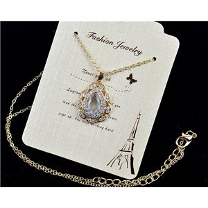 Gold chain necklace 42-48cm - Gold Zircon diamond cut pendant 79106