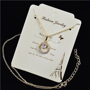 Gold chain necklace 42-48cm - Gold Zircon diamond cut pendant 79192