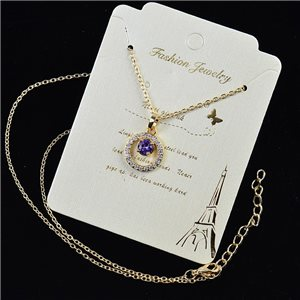 Gold chain necklace 42-48cm - Gold Zircon diamond cut pendant 79194