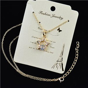Gold chain necklace 42-48cm - Gold Zircon diamond cut pendant 79195