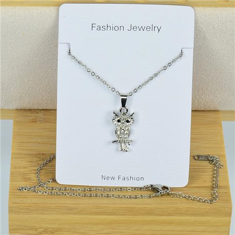 IRIS Rhinestone Pendant Necklace on Thin Steel Chain L40-45cm New Collection 79086