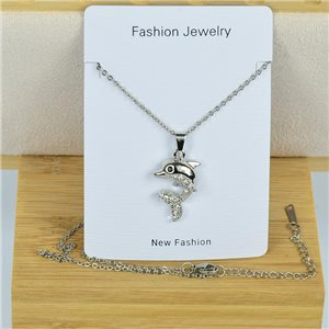 IRIS Rhinestone Pendant Necklace on Thin Steel Chain L40-45cm New Collection 79088