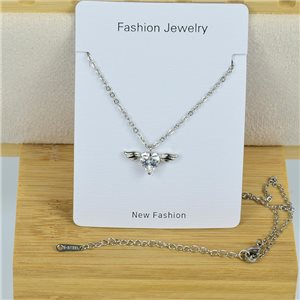 IRIS Rhinestone Pendant Necklace on Thin Steel Chain L40-45cm New Collection 79090