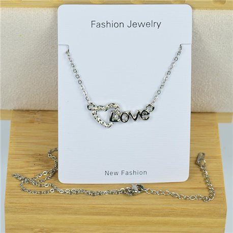 IRIS Rhinestone Pendant Necklace on Thin Steel Chain L40-45cm New Collection 79094